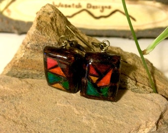 Multi-colored, pyrography earrings
