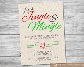 Christmas Party Invitation / Christmas Dinner Invitation / Christmas Invitation / Let's Jingle and Mingle / Printable File