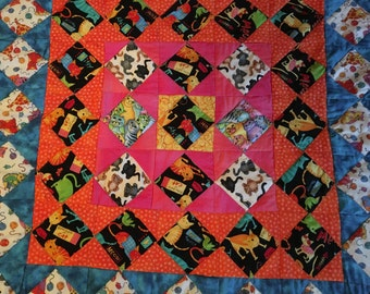 """39"""" x 41"""" Handmade Baby Quilt or Cat Lover Quilt"""