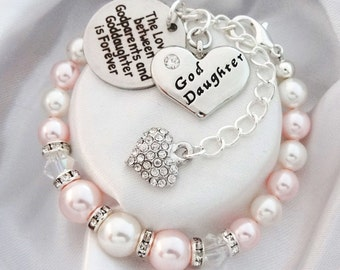 Goddaughter gift etsy swarovski pink white bicones godparents goddaughter goddaughter heart goddaughter gift negle Image collections