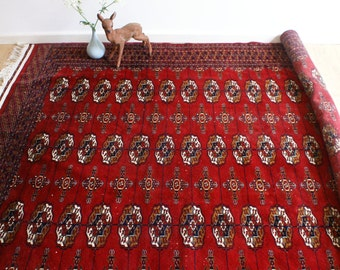 Great vintage hand knotted Persian carpet/rug. Big red Persian rug. Bokhara/Bochara