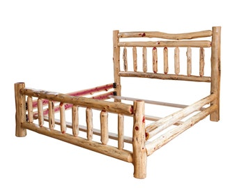 rustic red cedar log bed double top rail full size complete bed amish made in usa model wwr02 023rc f free shipping