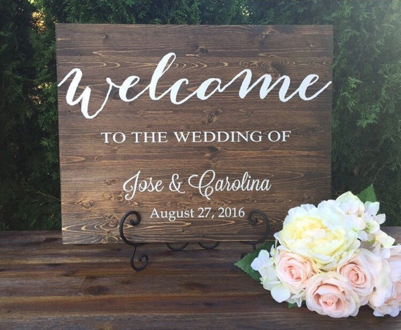 Rustic Wood Wedding Sign Wedding Welcome Sign By TheRusticEarth