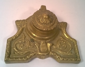 Antique Solid Brass Inkwell Excellent Condition