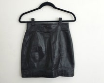 Vintage Black Leather Mini Skirt Size 4 - Tannery West Leather 90's Skirt