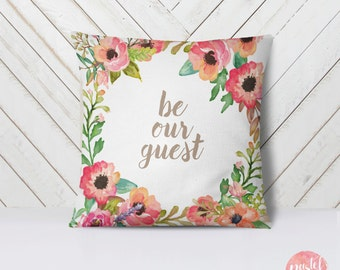 Be Our Guest Pretty Floral Wreath Pastel Flowers - Throw Pillow Case, Pillow Cover, Home Decor - TPC10131