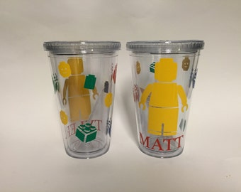 Lego personalized double wall tumbler with straw