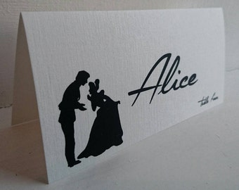 Disney theme Name place card for Wedding on ivory card.