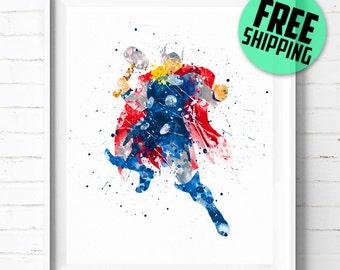 Avengers Thor print, Superhero wall art, Thor poster, Avengers Superhero print, Thor watercolor art, DC Comics Marvel art, [50] home decor