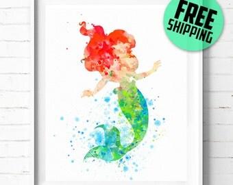 Ariel print, Disney print, Little Mermaid poster, Disney Princess Ariel poster, Disney art print, Ariel abstract, wall art, kids Decor, 75