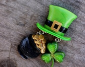 Patrick's Day brooch, green 4 leaf clover pin, pot of gold brooch, the brooch of well-being, FREE SHIPPING