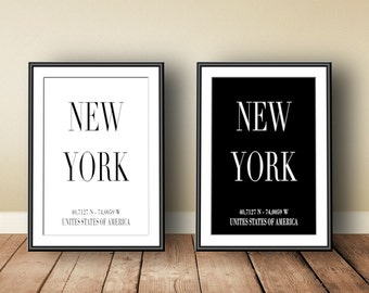 New York Coordinates, digital download, instant download, printable art, typographic print, New York, NYC poster, scandinavian art, NYC art