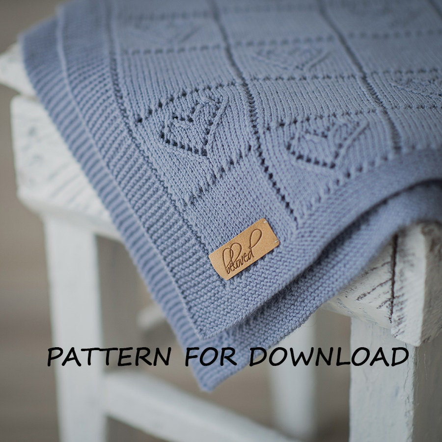 Knitted Blanket Patterns For Babies : Knit Baby Blanket Pattern in English Knitting Pattern for