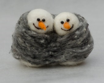 Snowman couple needle felted handmade wool #014