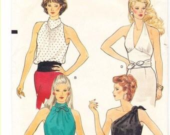 VOGUE Patterns 8661 ~ Misses' Sleeveless Halter Tops ~ Size (12-14-16)