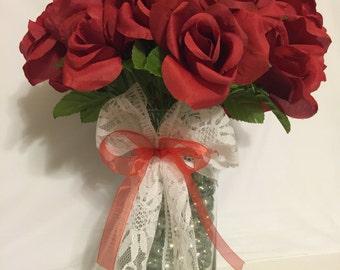 Beautiful Wedding/ Shower Gift Red Rose Flower Pen Bouquet