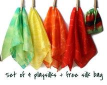 Playsilk set. Tie dye play silk set of 4. Play silk square. Silk toy. Imaginative play toy. Waldorf play silk. Small hand dyed silk scarf.
