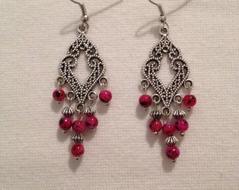 Beautiful drop earrings with pink beads