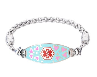 Loving Hearts 316L Medical Alert ID Wheat Bracelet-Red-Free Engraving, Wallet Card, Apps-5706RE