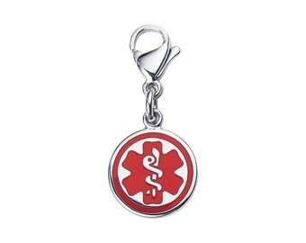 Mix N Match 9/16' (14.2-mm)  316L Stainless Medical Alert ID Charm-Red-Free Custom Engraving-9932RE