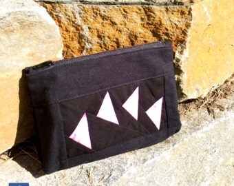 """Bright and colorful """"Flying Geese"""" Patchwork Cosmetic bag, Zippered, Makeup Case, Pouch, Toiletry Bag, Pencil Case, Beauty Accessories"""