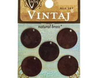 Metal Stamping Blanks 16mm Circle Stamping Blanks Vintaj Made in the USA Natural Brass Bronze 5 pack 24 gauge
