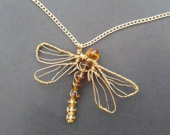 Antique Bronze and Gold Wire Wrapped Beaded Dragonfly Necklace