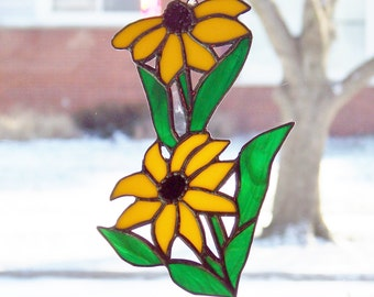 Black Eyed Susan Stained Glass Sun Catcher