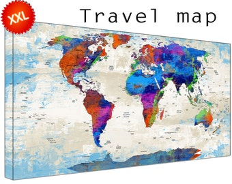 Personalized World Travel Map canvas art print large wall art Personalized World Travel Map home Office Decor print on canvas
