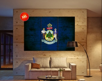 maine state flag  canvas maine state flag wall decoration maine state flag canvas art maine state flag large canvas