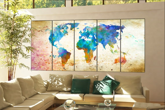 world map art  print on canvas wall art world map art artwork large world map art print office decor home decoration 5 panel