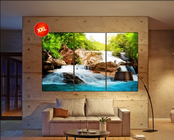 Waterfall in rain forest  canvas Waterfall in rain forest wall decoration Waterfall in rain forest canvas art  large canvas
