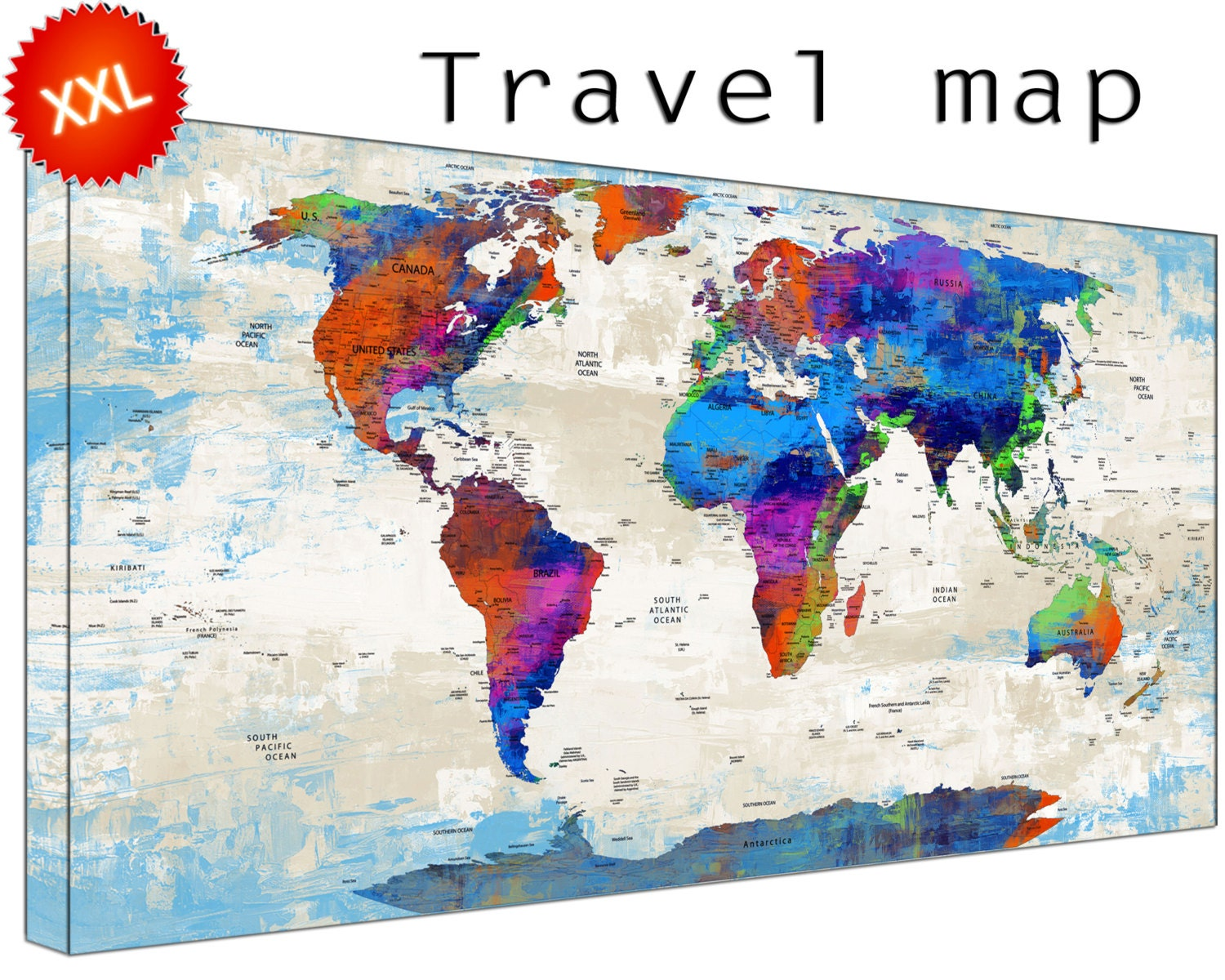 Personalized World Travel Map canvas art print large wall