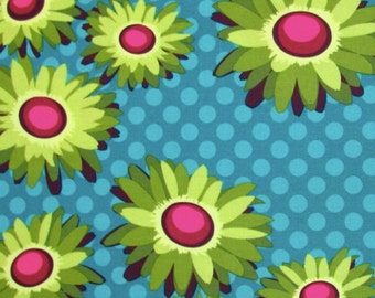 Flora and Fauna by Patty Young for Michael Miller Fabrics | Daisy Dot | DC4104 Turquoise  By the Yard