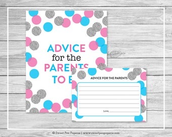Pink and Blue Gender Reveal Advice for the Parents Cards - Printable Advice for the Parents Cards - Pink Blue Silver Gender Reveal - SP113