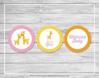 Giraffe Baby Shower Cupcake Toppers - Printable Baby Shower Cupcake Toppers - Pink Giraffe Baby Shower - Giraffe Cupcake Toppers - SP129