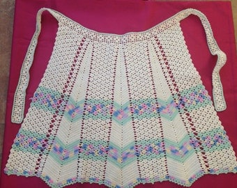 Vintage Hand CROCHETED Apron~Crocheted Apron~Vintage Needlework~Aprons~Vintage Apron~Handmade Apron~Fancy Kitchen Wear~Made in the 1950s~