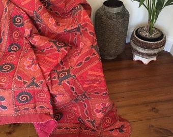 Handmade Reversible  kantha Cotton Blanket