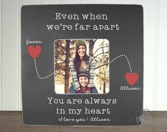 Personalized Boyfriend Picture Frame Long Distance Relationship Gift Ideas Long Distance Boyfriend Gift Even When We're Far Apart IB3FSLOVE