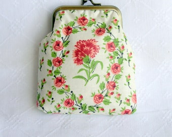 Pink and green pretty print coin purse