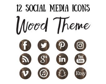 Social Media Icons, wood icon, Bohemian Icons, Woodland Icons, Simple Icons, Branding icons