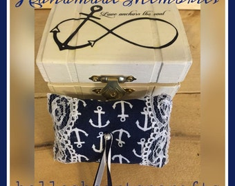 Personalized Beach Wedding, Wedding Ring Box; Rustic, Nautical, Seaside Wedding; Ring Bearer Alternative. Ring Bearer Box with Anchor Pillow