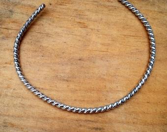 Silver rope open cuff
