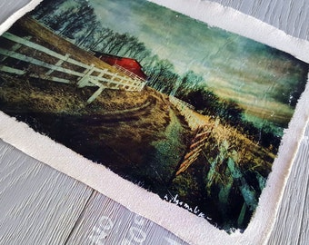 Country Art, Farm Art on Fabric, Art on Canvas, Red Barn, Wall Decor, Rural Print, Image on Canvas, Photo Transfer