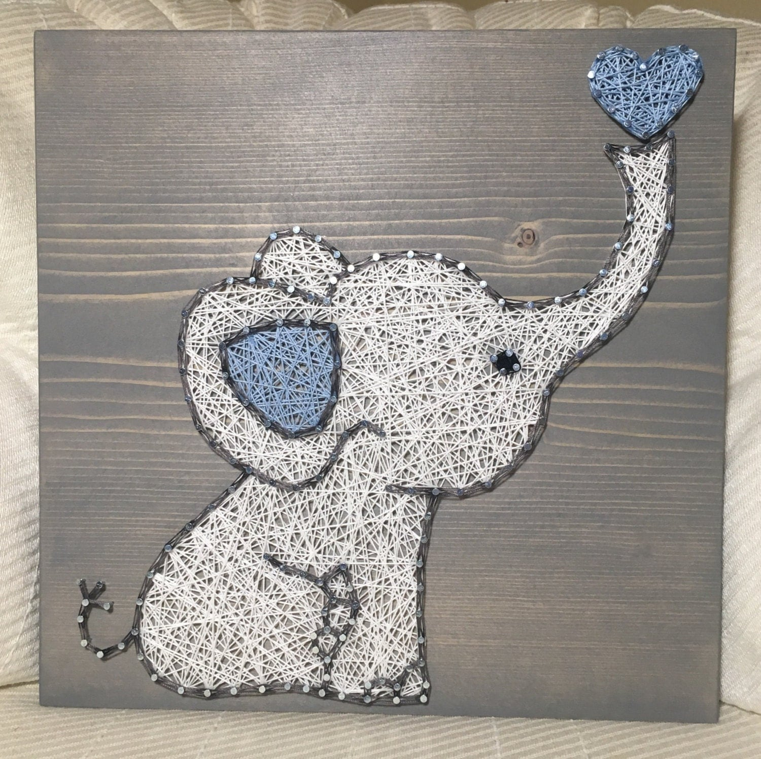 custom elephant string art sign baby elephant love by. Black Bedroom Furniture Sets. Home Design Ideas