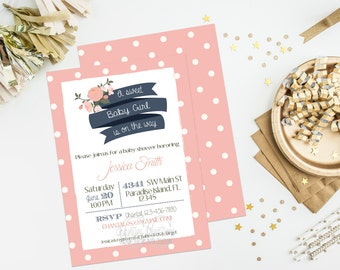 Sweet Baby Girl Baby Shower Invitation Digital File