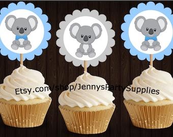 Set of 12 Blue Koala Toppers, Koala Bear Toppers, Koala Birthday, Koala Party Decor, Koala Toppers