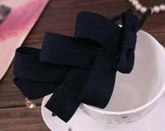 Dark blue big bow headband fashion chic for women beautiful and cute headband hair accessories