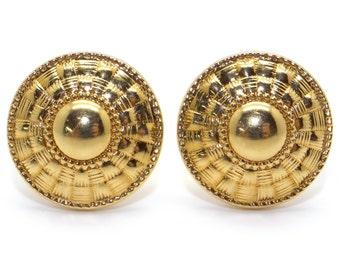18k Yellow Gold Ornate Sun Dial Button Earrings Swirl Ear Clips