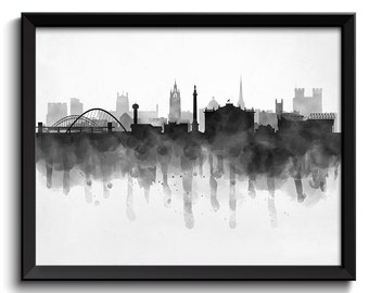 Newcastle Skyline England Europe Cityscape Art Print Poster Black White Grey Watercolor Painting